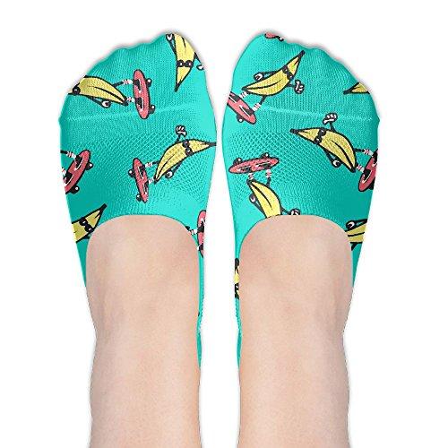 Fun Banana Skateboard Women's No Show Boat Socks Casual Colorful Athletic Sport Sock]()