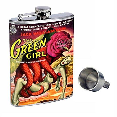 【海外輸入】 Green GirlセクシーSF Free Perfection B015QLFWH8 inスタイル8オンスステンレススチールWhiskey Funnel Flask with Free Funnel d-410 B015QLFWH8, 飯南町:64615f65 --- digitalmantraacademy.com