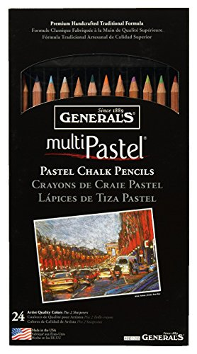 (General's Multi-Pastel Non-Toxic Chalk Pencil with Sharpener and Project Booklet, Assorted Color, Set of 24)
