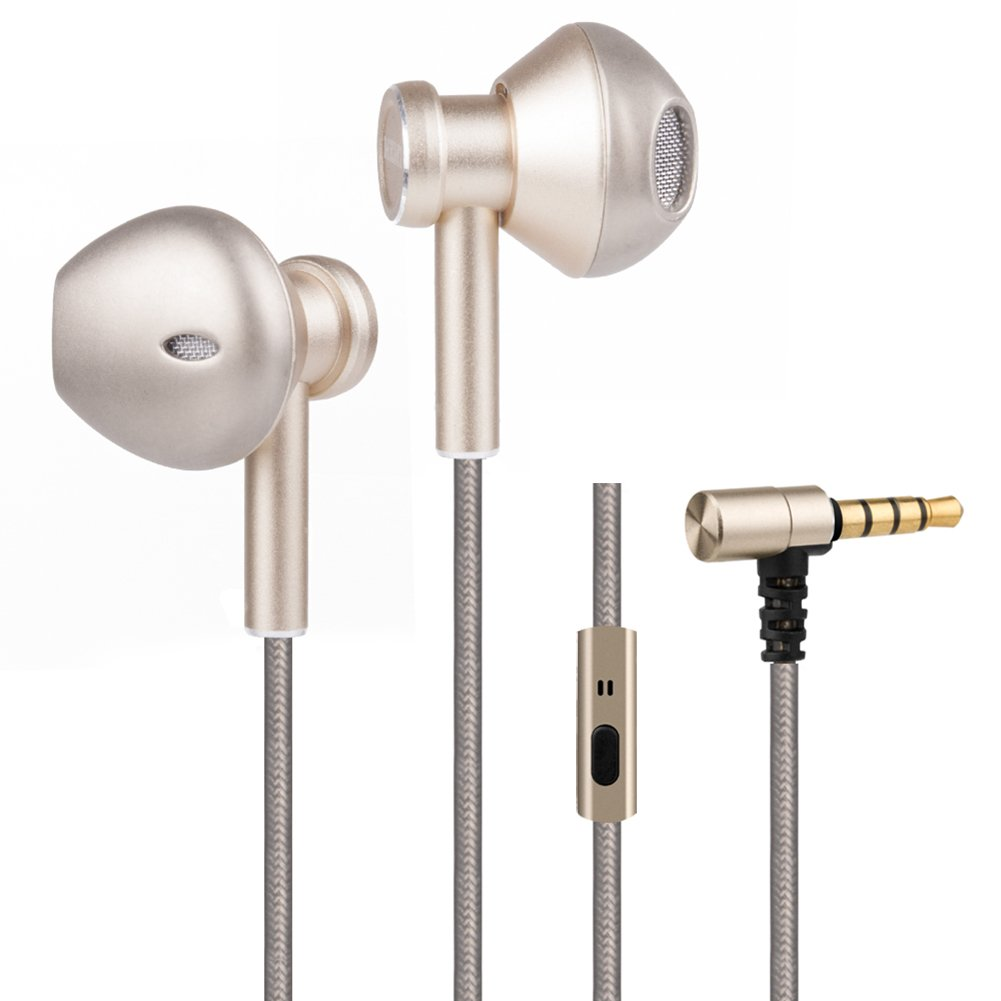 MEMT T5 In-ear Corded Earphone Hifi Headphone, Bass Stereo Earbuds with Microphone, Dynamic Headset with 3.5mm Audio Jack for iPhone Android Device(Gold)