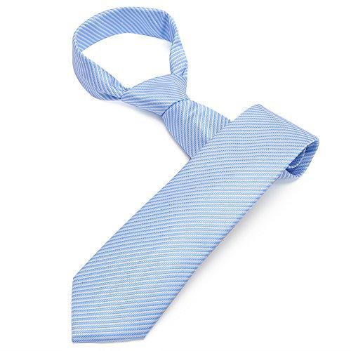 Mens Handmade Polyester Silk Regular Width Necktie with Cufflinks Pocket Square and Tie Clip 3'' (8cm) (Light Blue (Light Blue Knot Cufflink)