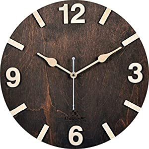B Square 12 Inches Handcrafted Wooden Wall Clock Dark Walnut Bswc048Dw12