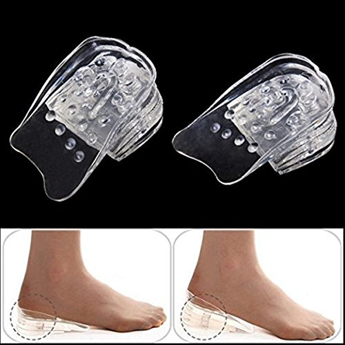 1 Pair 5 Layer Silicone Gel Heel Insert Shoe Height Increase Insole Lift Men Women Shoe Pads Transparent