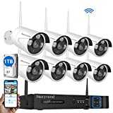 8CH Security Camera System Wireless, NexTrend 8CH Home Security Camera System with 8pcs 960P IP Security Camera, 1TB Hard Drive Pre-Installed, No Monthly Fee