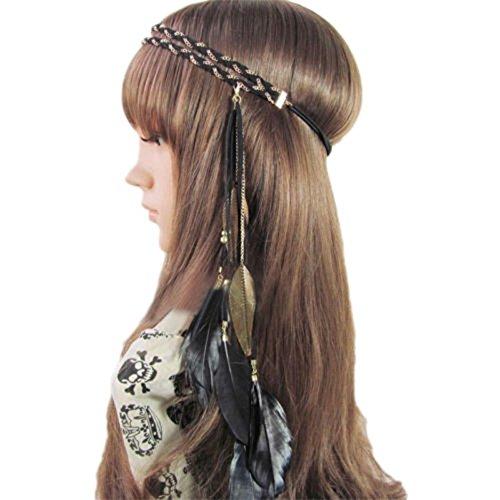 Gold Tassel Braided (Song Qing Women Feather Leaf Tassels Braided Hippie Headband Hair Accessories)