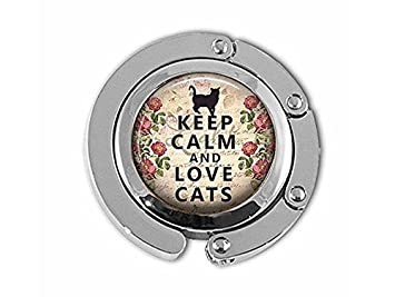 Percha para gatos con texto en inglés Keep Calm and Love Cats, regalo para amantes