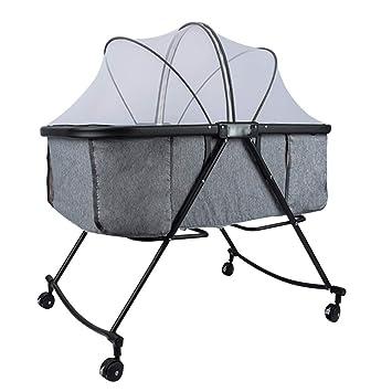 Amazon.com: XJJUN - Cuna mecedora con ruedas, mosquitera ...