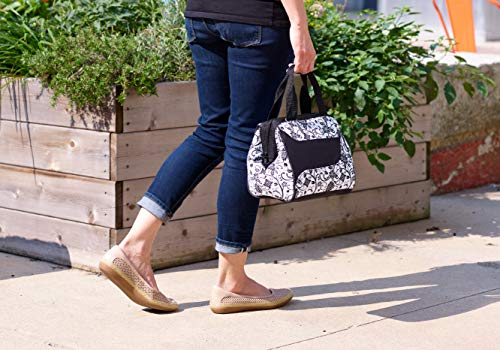 Fit & Fresh Women's Downtown Insulated Lunch Bag with Zipper Closure and Exterior Pocket, Stylish Adult Lunch Box for Work, Ebony Floral by Fit & Fresh (Image #4)