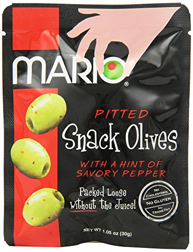Mario Camacho Foods Pitted Snack Olives, with a Hint of Savory Pepper, 1.05 Ounce (Pack of 12)