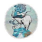 KESS InHouse Mat Miller Seeking New Heights Blue Goat Round Beach Towel Blanket