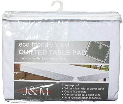 Waterproof Vinyl Qualited Rectangle Table Pad Protector with Non-Skid Flannel Backing, 52x108