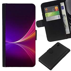 """JackGot ( Neon Purple Splash"""" ) Sony Xperia Z1 L39 la tarjeta de Crédito Slots PU Funda de cuero Monedero caso cubierta de piel"""