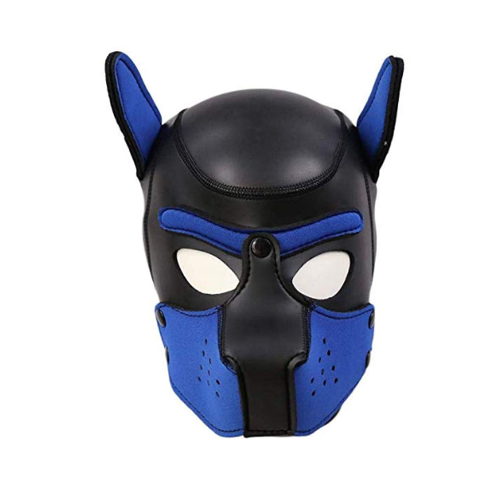 CLII Fetish M Size Leather Full Face Gimp Mask Sexy Puppy Full Face Mask Rubber Mask Soft Unisex Sex Toys,Blue,M