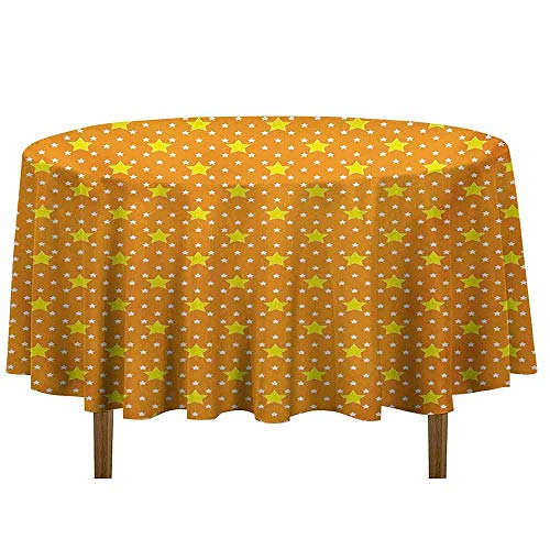(Star Waterproof Anti-Wrinkle no Pollution Small Large Star Pattern in Vivid Color Starry Night Sky Polka Dot Ornament Print Table Cloth D35 Inch Yellow Orange)