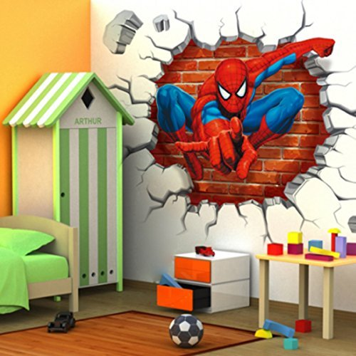 Jiahui Brand DIY Removable Spiderman 3D Cracked Children Themed Art Boy Room Wall Sticker Home Decal, Peel and Stick Wall Decal for Kids Room Wall Decor by Jiahui Brand (Image #2)