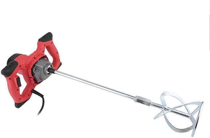 M/élangeur 930rpm /Ø 120mm 6 vitesses Malaxeur m/élangeur /à m/élanger pour mortier /à b/éton 1200W-Rouge
