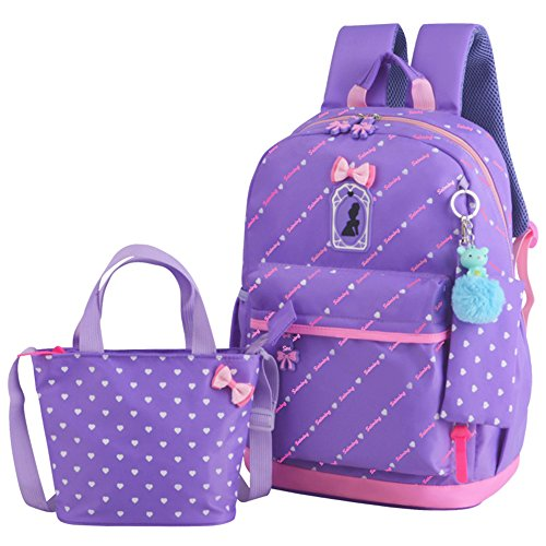 JiaYou Girl Boy Cute Lunch Bag Purse/Pencil Bag School Backpack 3 Sets (20L, StyleD Purple)