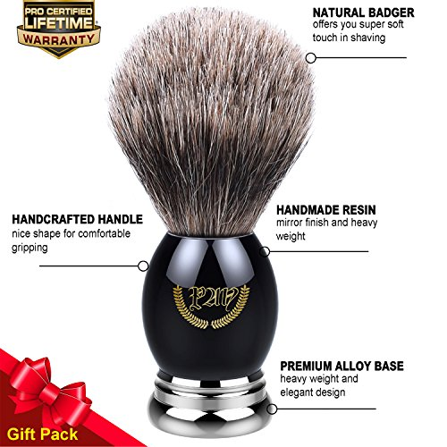 Brush Deluxe Metal (Shaving Brush, Badger Brush Shaving, Best Badger Shaving Brush, Luxury Chrome Handle, Heavy Weight, Natural Soft Badger (Metal Sapphire). Professional Shaving Brush for Men, Shaving Brush 100% Natural)