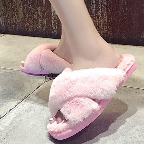 LaxBa Lhiver au chaud, lhiver Chaussons Chaussons moelleux Accueil chaleureux en hiver, chaussures antiglisse Chambre Chaussons Rose Croix38-39 (habituellement 37-38 pieds)