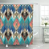 Emvency Shower Curtain Waterproof Adjustable Polyester Fabric Abstract Ethnic Ikat Pattern Traditional on the in Indonesia Asian Countries 66 x 72 Inches Set With Hooks For Bathroom