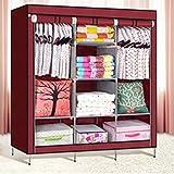 S K AND COMPANY Folding Non-Woven Fabric Cloth Wardrobe A3 (Red)