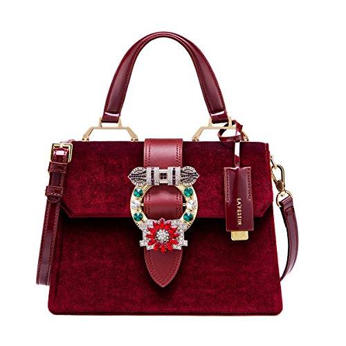 LA'FESTIN Vintage Burgundy Bags for Women Velvet Leather Shoulder Purses with Jewels Red -