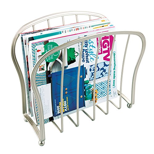 mDesign Decorative Metal Wire Magazine Holder, Organizer - Standing Rack for Magazines, Books, Newspapers, Tablets, Laptops in Bathroom, Family Room, Office, Den - Satin ()