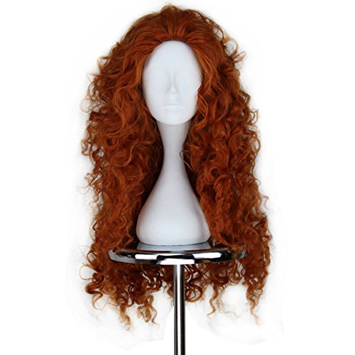 Miss U Women Fluffy Long Copper Brown Spiral Curly Hair Halloween Cosplay Costume -