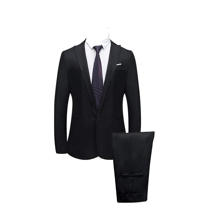 2 Piezas Traje de vestir clasico elegante para hombre de color solido.