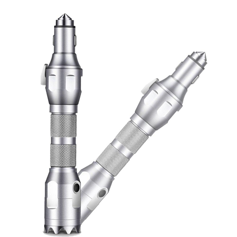 Wiederaufladbare LED-Taschenlampe Taschenlampe, hann in 1 Integrierter Multifunktional Escape Notfall Kit für Auto, Taschenlampe, Kfz-Ladegerät, Hammer, Cutter, 2200 mAh Power Bank, grau