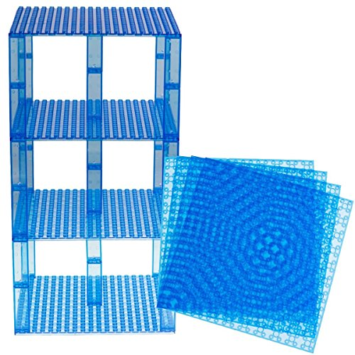 Strictly Briks Classic Baseplates 6 x 6 Brik Tower 100% Compatible with All Major Brands   Building Bricks for Towers and More   4 Clear Blue Stackable Base Plates & 30 Stackers