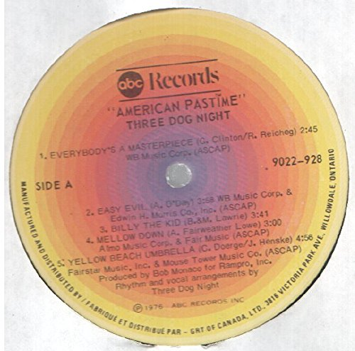 Three Dog Night: American Pastime LP VG++/NM Canada ABC 9022 928