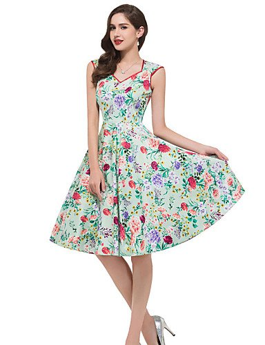PU&PU Robe Aux femmes Gaine Vintage,Fleur Col en V Mi-long Coton , green-2xl , green-2xl