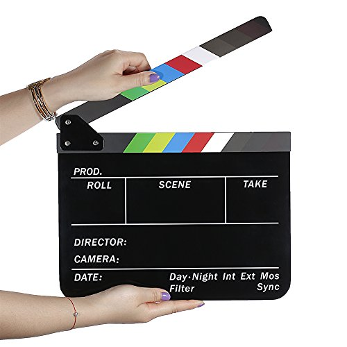 Neewer Dry Erase Director's Film Movie Clapboard Cut Action Scene Clapper Board Slate with Colorful Sticks (Movie Scene Board)