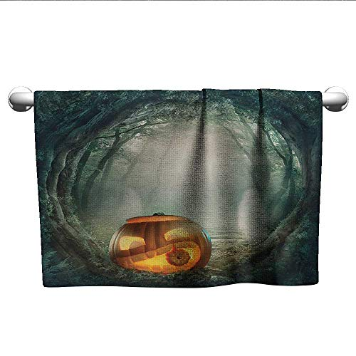 alisoso Halloween,Gym Towel Drawing of Scary Halloween Pumpkin Enchanted Forest Mystic Twilight Party Art Eco-Friendly Orange Teal W 35