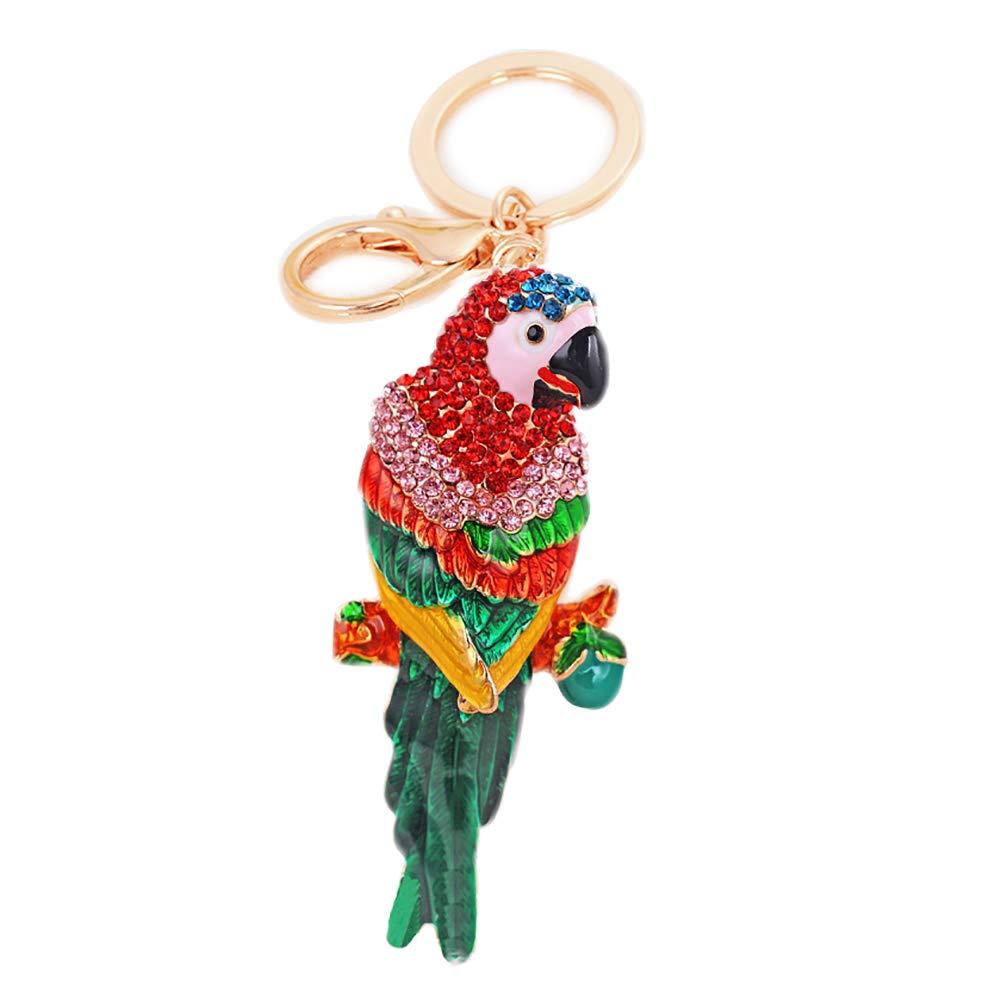 Parrot Crystal Rhinestone Keyring Long Dangle Keychain Glitter Pendant Charms Ornaments Hanging