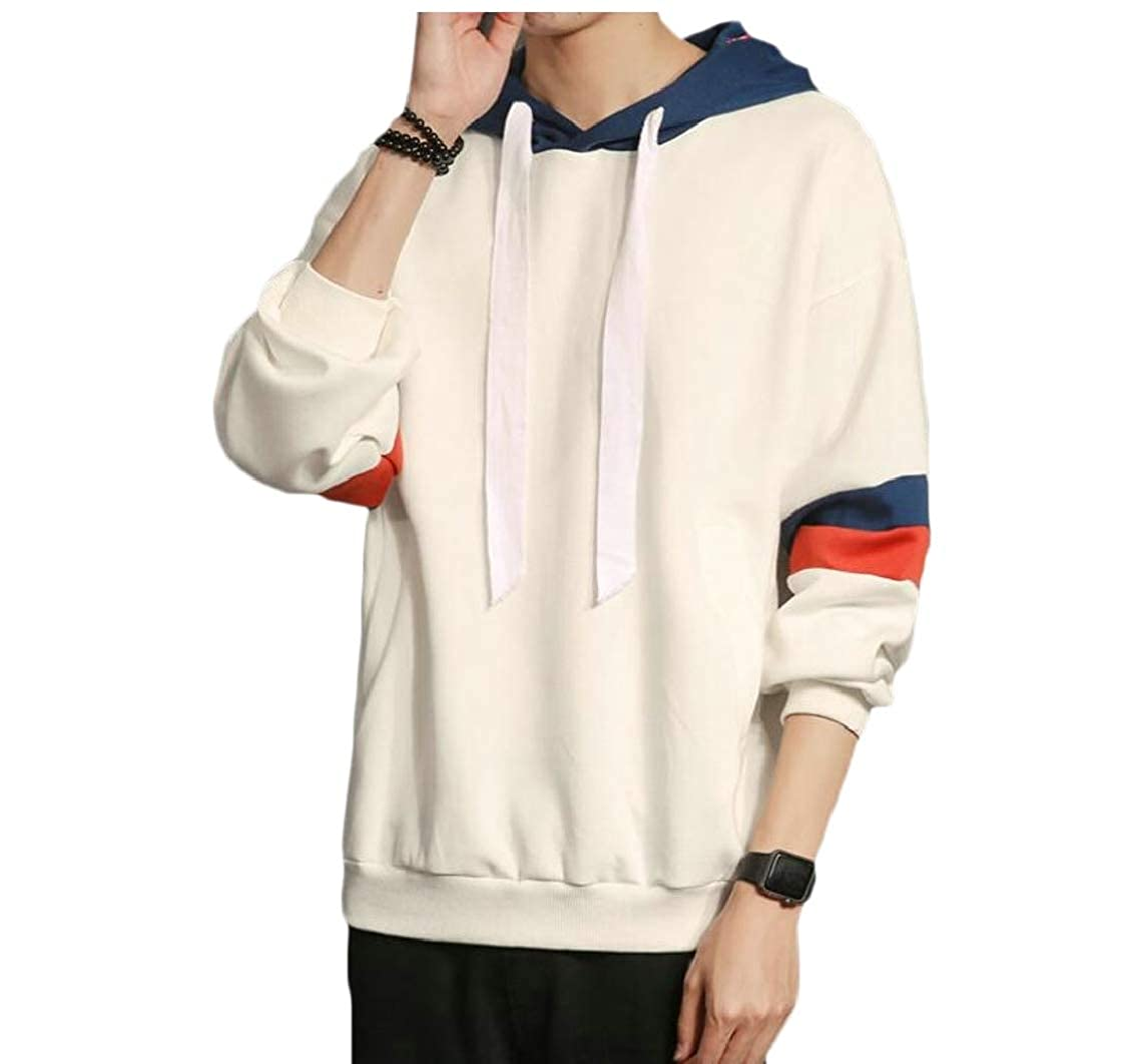 Hokny TD Mens Tops Round Neck Big-Tall Relaxed Fit Hoodie Pullover Sweatshirts