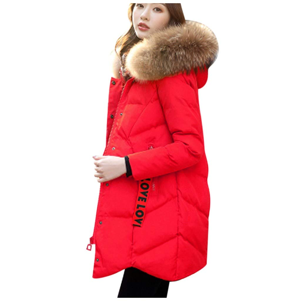 ✷ HebeTop ✷ Women's Down Coat with Fur Hood with 90% Down Parka Puffer Jacket Red by ▶HebeTop◄➟HOT SALES