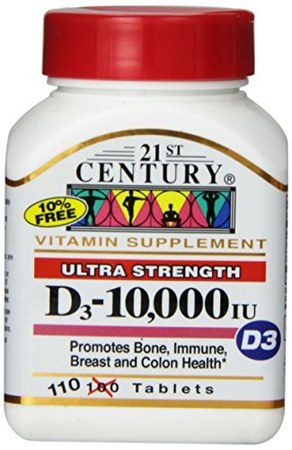 21st Century D3 10,000 Iu Tablets, 110 Count - Buy Packs and Save (Pack of 2) (Tablets Pack Count 110)