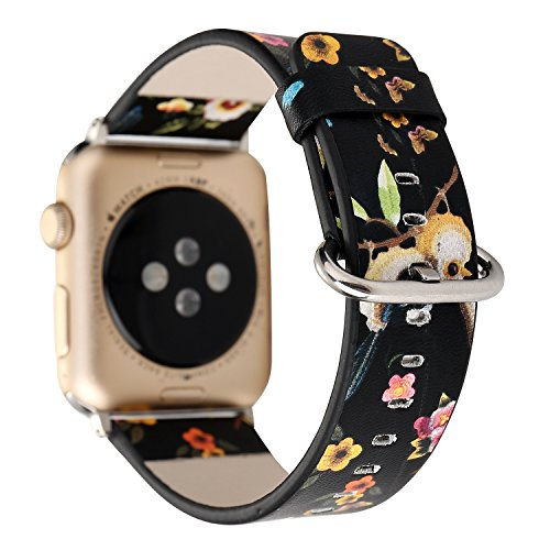 Flower Design Strap for iWatch,38mm 42mm Floral Pattern Printed Leather  Wrist Band Apple Watch Link Bracelet for Apple Watch Smartwatch Fitness