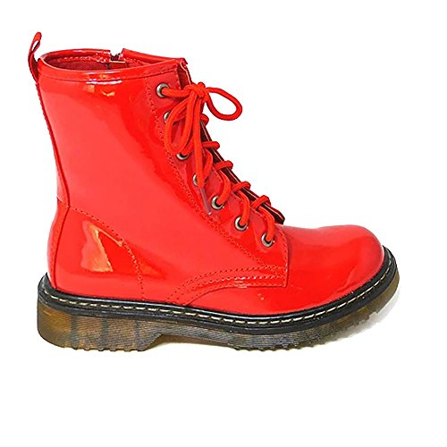 Aaishaz 786 Ladies Vintage Lace UP Zip Patent Womens Ankle High Boots Punk Combat dms Shoes Red Patent g8oVCDw3Hv