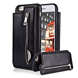 For iPhone 6 6S Pocket Case, Aearl TPU Bumper Shell Back Magnetic Button Closure Vintage PU Leather Cover Zipper Wallet Purse Card Holder and Photo Frame Slot Kickstand Case for iPhone 6S 6 - Black