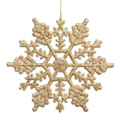 vickerman plastic glitter snowflake 4 inch gold 24 per box - Gold Christmas Decorations