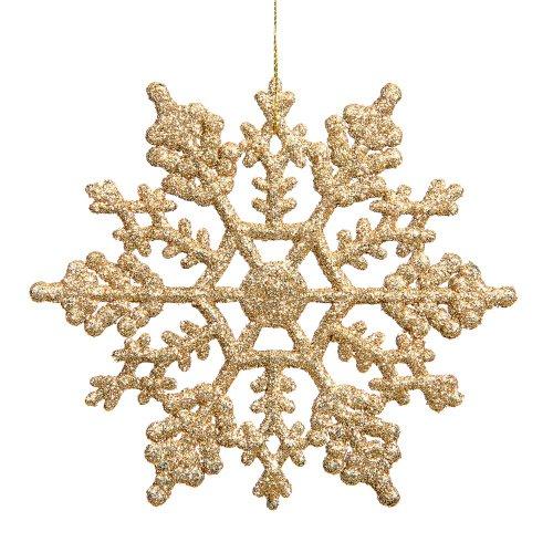 Vickerman Copo de Nieve, 4-Inch de purpurina, 24Pet Caja de plástico, Dorado, 1