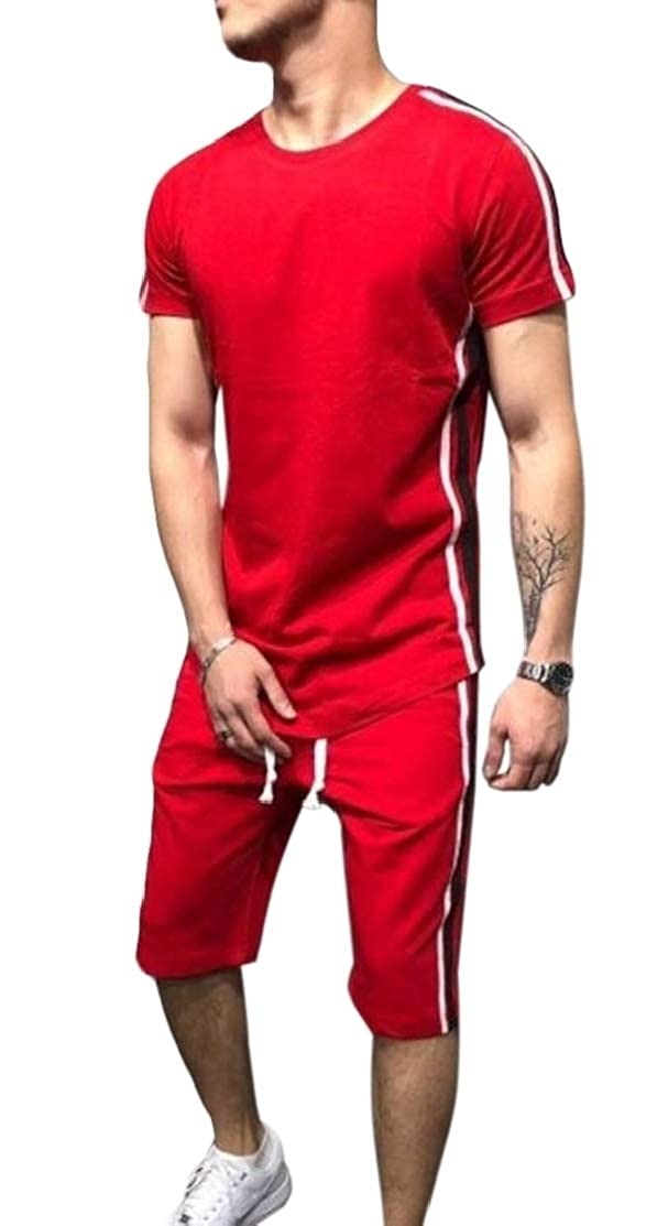 Domple Mens Short Sleeve Casual Hip Hop 2 Pcs Outfits Sport Shorts Tracksuits