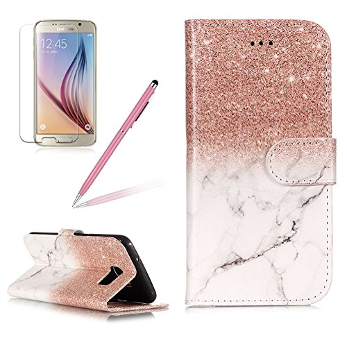 Case for Galaxy S7,Girlyard Colorful Painting Premium PU Leather+TPU Inner Book Style Magnetic Closure Flip Stand Feature with Screen Protector for Samsung Galaxy S7-Marble Rose Gold -