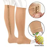 Zipper Medical Compression Socks With Open Toe