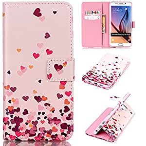 ANGELLA-M Folio Case For 5.7 inch Samsung GALAXY S6 Edge Plus G9280 , Lovely Cute Hearts 3D Relief Style Magnetic Wallet Flip Stand Pouch Cover Skin.