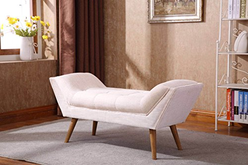 Chairus Tufted Upholstered Vanity Arm Bench - Fabric Linen Large Rectangular Footstool Entryway Rustic Bench Rubber Wood Legs Living Room, Bed Room Hallway (Beige Color)