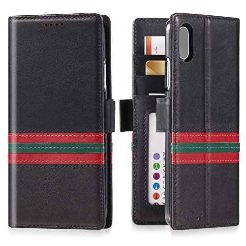 iPhone Xs/iPhone X Wallet Case Leather - iPulse Milan Series Designer Edition Italian Full Grain Leather Handmade Flip Case for iPhone Xs/iPhone X with Magnetic Closure - Green/Red Strip